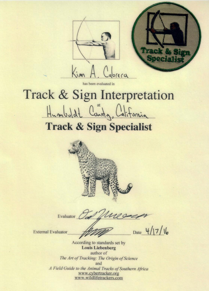 Track and sign specialist certificate